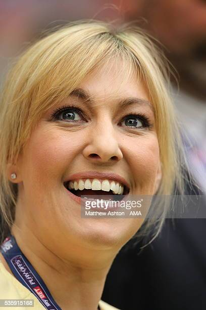Television presenter Kelly Cates the daughter of football legend Kenny Dalglish during the Sky Bet League Two Play Off Final between Plymouth Argyle...