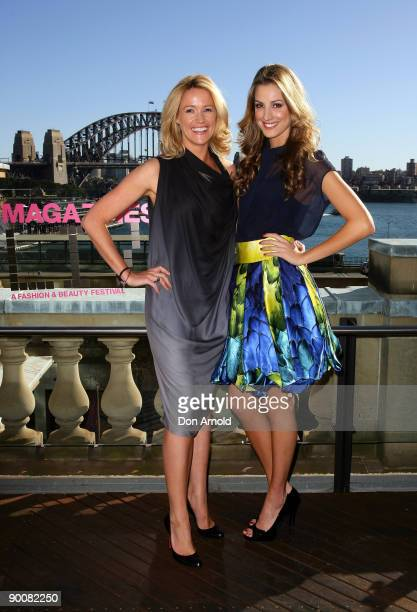 Television presenter Leila McKinnon and model Laura Dundovic pose at the launch of ACP Magazine's '30 Days of Fashion Beauty' a monthlong calendar of...