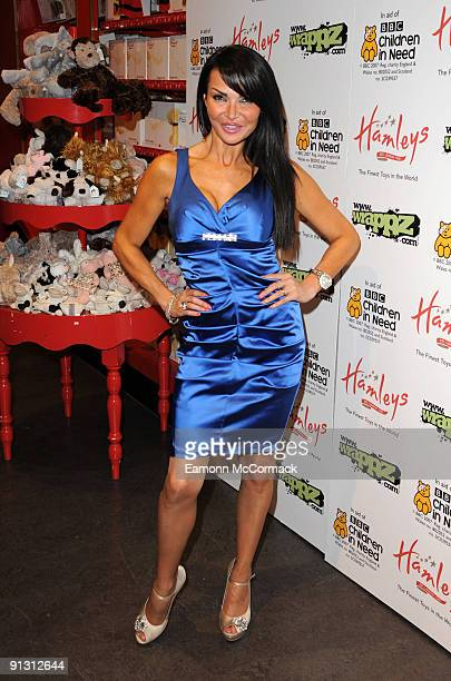 Television presenter Lizzie Cundy attends the launch of iPod skins by Wrappz in aid of Children In Need at Hamleys on October 1 2009 in London England