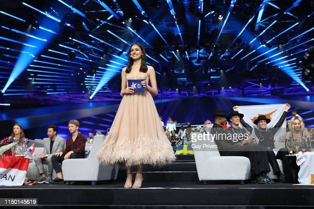 Television presenter Lucy Ayoub during the 64th annual Eurovision Song Contest held at Tel Aviv Fairgrounds on May 18, 2019 in Tel Aviv, Israel.