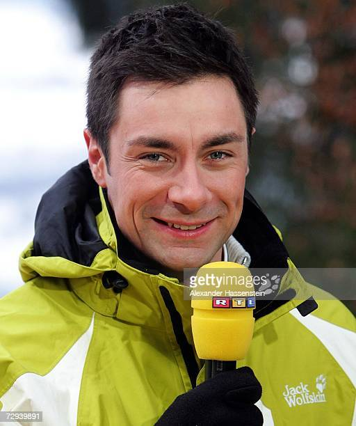 Television presenter Marco Schreyl looks on during practice session of the FIS Ski Jumping World Cup event at the 55th Four Hills Ski Jumping...