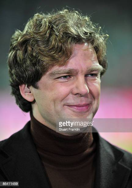 Television presenter Michael Steinbrecher during the UEFA Cup Round of 16 first leg match between SV Werder Bremen and AS St Etienne at the Weser...