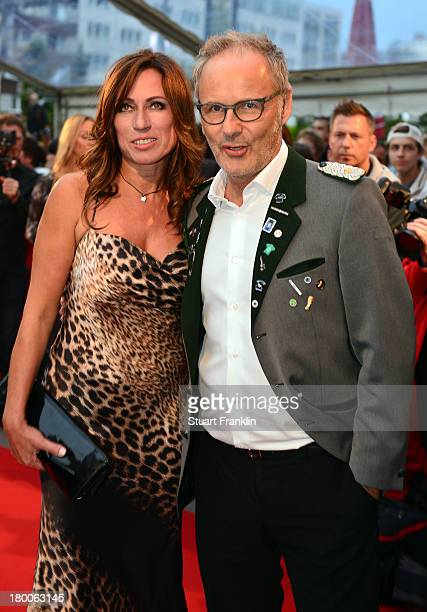 Television presenter Reinhold Beckmann with his wife Kerstin Beckmann at the evening gala at Schmidt theater after the day of the legends event at...