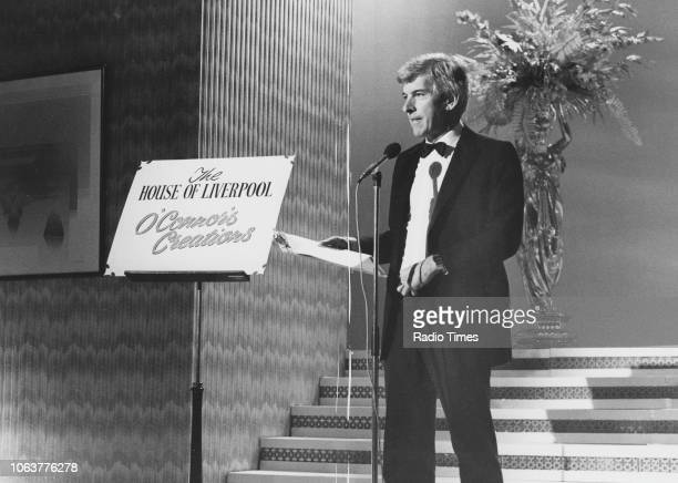 Television presenter Tom O'Connor speaking on stage for a segment of the television show 'Tom O'Connor Show' May 22nd 1984