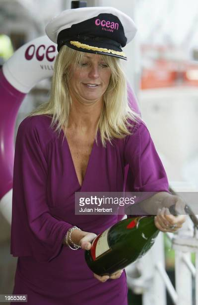 Television presenter Ulrika Jonsson names the ship Ocean Village on April 28 2003 at Southampton Dock England Jonsson named the 63500ton000passenger...