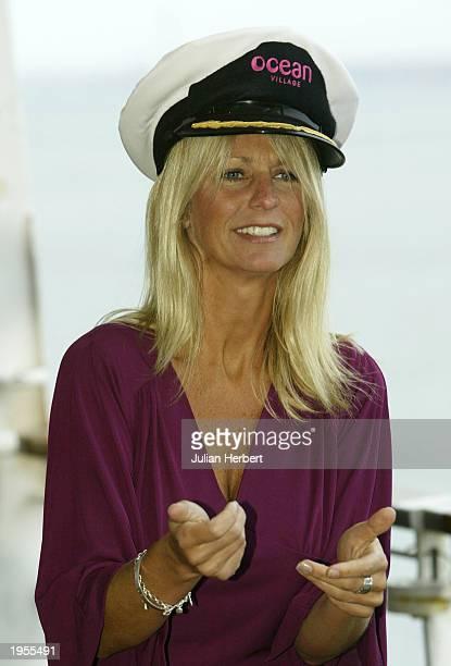 Television presenter Ulrika Jonsson poses for photograhers on April 28 2003 at Southampton Dock England Jonsson named the 63500ton000passenger cruise...