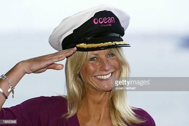 Television presenter Ulrika Jonsson salutes on April 28 2003 at Southampton Dock England Jonsson named the 63500ton000passenger cruise liner Ocean...