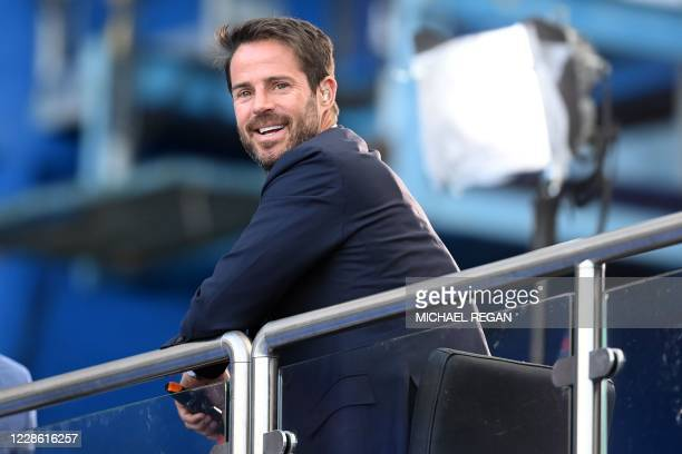 Television presenter working for Sky Sports Jamie Redknapp smiles ahead of the English Premier League football match between Chelsea and Liverpool at...