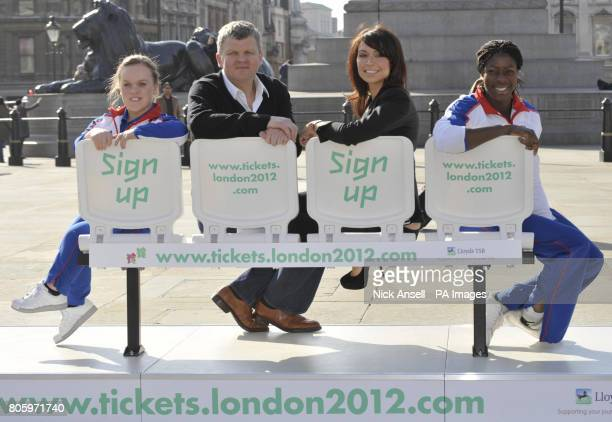 Television presenters Christine Bleakley and Adrian Chiles with Paralympian double gold medallist Ellie Simmonds and Olympic gold medallist Christine...