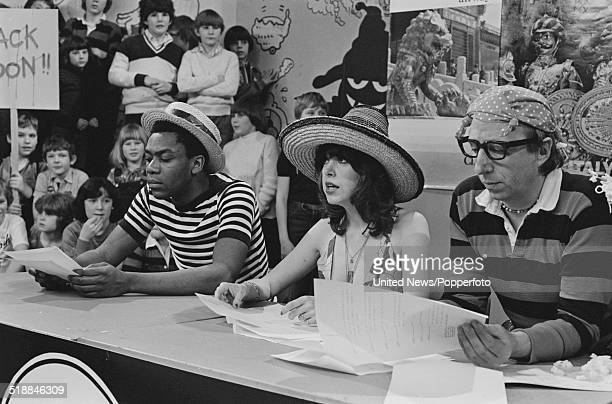 Television presenters Lenny Henry Sally James and comedian John Gorman take part in a sketch on the children's television show Tiswas at ATV studios...