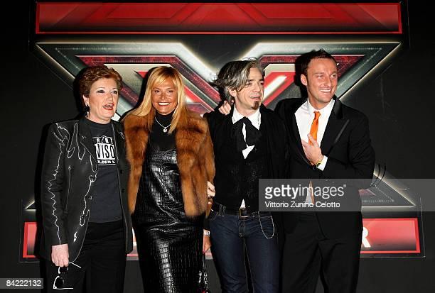 """Television Presenters Mara Maionchi, Simona Ventura, Morgan aka Marco Castoldi and Francesco Facchinetti attend """"X Factor"""" Italian TV Show press..."""