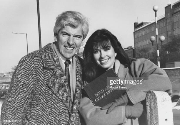 Television presenters Tom O'Connor and Debbie Greenwood pictured out on the streets of Falkirk during a tour of the 'Tom O'Connor Roadshow' Scotland...