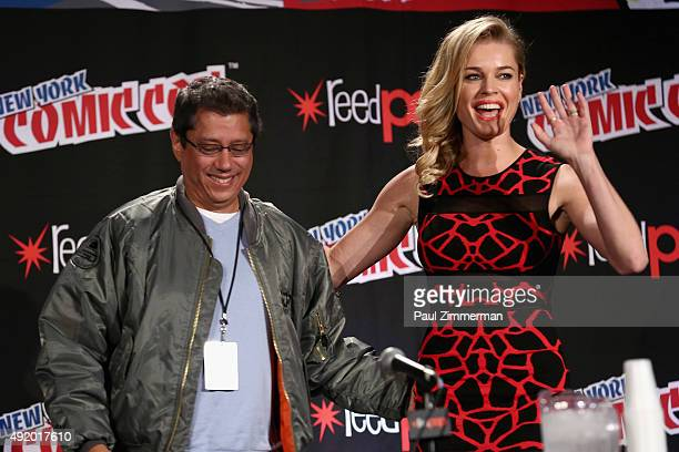 Television producer Dean Devlin and actress Rebecca Romijn speal at The Librarian S2 First Look panel at the Jacob Javits Center on October 9 2015 in...