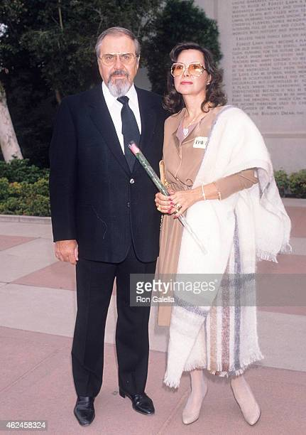 Television producer George Schlatter and wife Jolene Brand attend Sammy Davis Jr's Funeral Service on May 18 1990 at the Forest Lawn Memorial Park in...