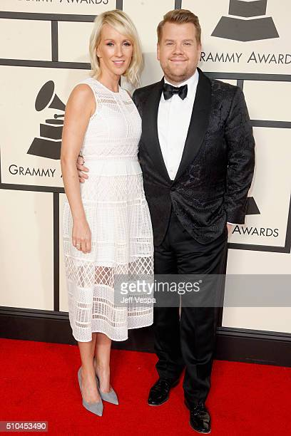 Television producer Julia Carey and television host James Corden attend The 58th GRAMMY Awards at Staples Center on February 15 2016 in Los Angeles...