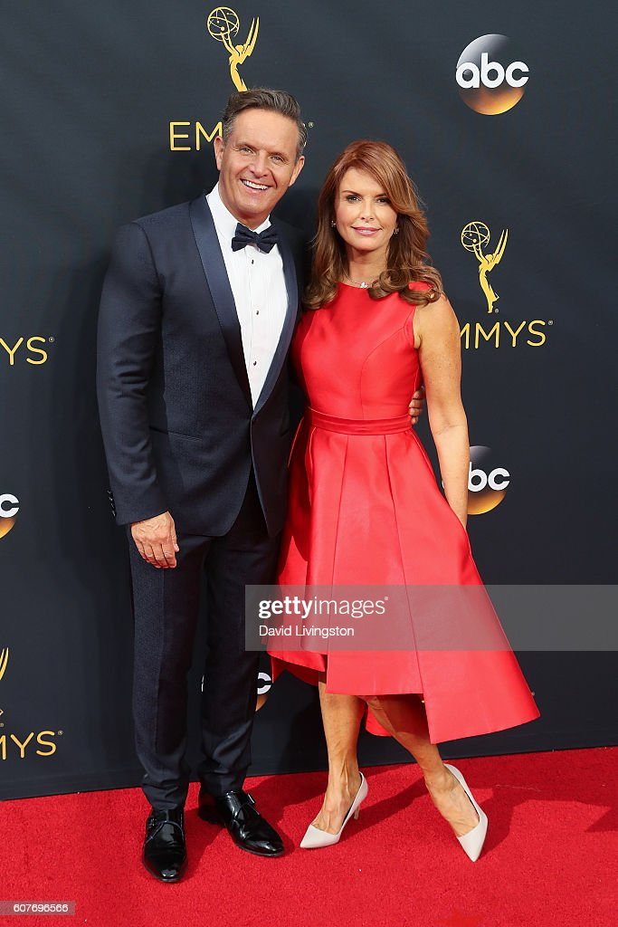 Television Producer Mark Burnett and actress Roma Downey arrive at the 68th Annual Primetime Emmy Awards at the Microsoft Theater on September 18, 2016 in Los Angeles, California.