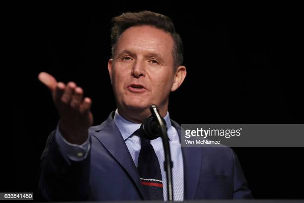 US Television producer Mark Burnett introduces US President Donald Trump at the National Prayer Breakfast February 2 2017 in Washington DC Every US...