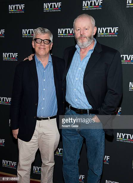 Television producer Peter Tolan and Actor David Morse of the American television series Outsiders attend the NYTVF Development Day panels during the...