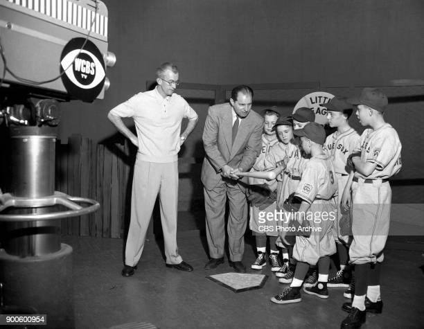 CBS television program Little League Baseball School Featured are boys from Yonkers NY Little League Baseball teams Left to right Tommy Henrich...