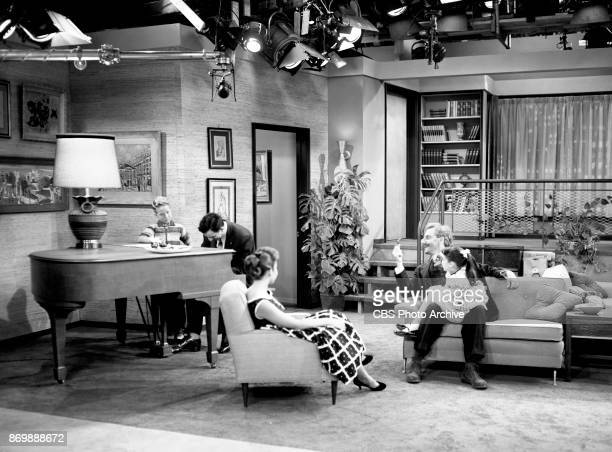 CBS television program Make Room for Daddy episode Kathy Is Approved Pictured from left is Rusty Hamer Danny Thomas Sherry Jackson Hans Conried and...