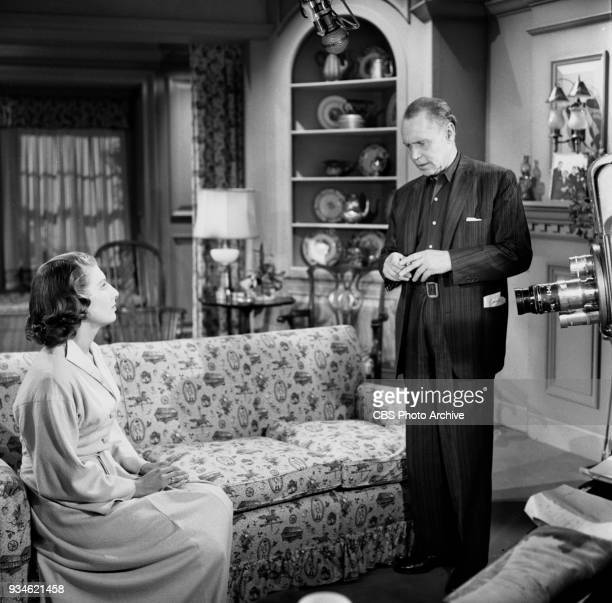 CBS television program Playhouse 90 Episode The Hidden Image New York NY Pictured from left is Nancy Marchand and Franchot Tone Image dated November...