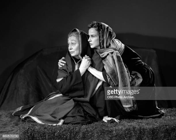 CBS television religious program Lamp Unto My Feet The production of The Story of Ruth featuring from left actresses Aline MacMahon and Kim Hunter...