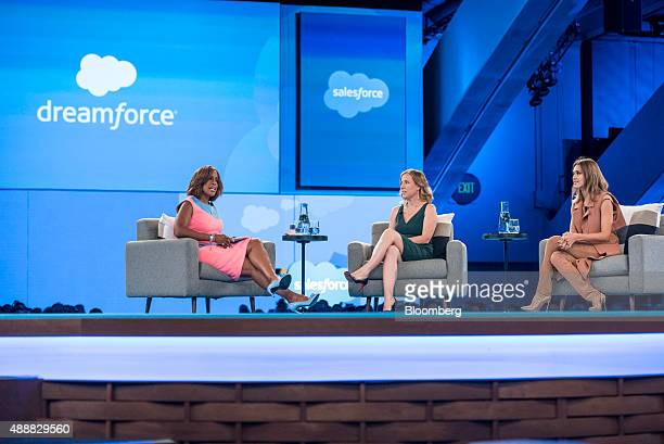 Television reporter Gayle King left speaks as Susan Wojcicki chief executive officer of YouTube Inc center and Actress Jessica Alba cofounder of The...