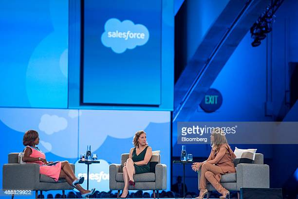 Television reporter Gayle King left Susan Wojcicki chief executive officer of YouTube Inc center listen as Actress Jessica Alba cofounder of The...