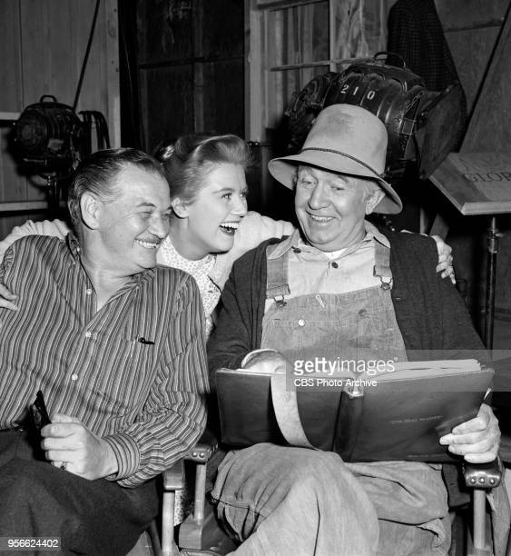CBS television rural comedy The Real McCoys Pictured is an off camera moment left to right Stephen Ellsworth Kathleen Nolan and Walter Brennan...