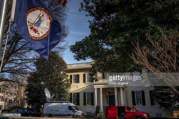 A television satellite truck sits parked outside the Governor's Mansion near the Virginia State Capitol February 9 2019 in Richmond Virginia Virginia...
