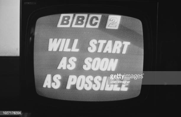 Television screen displaying a message of interruption of programming after the launch of BBC Two channel which says 'BBC 2 will start as soon as...
