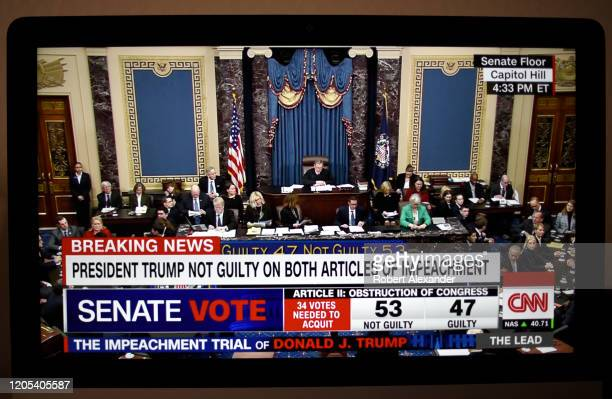 Television screen shot during live CNN coverage of the President Donald Trump impeachment trial on February 5 shows the final vote in the U.S. Senate...