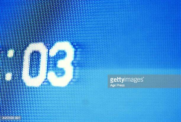 Television screen, video counting seconds, close-up (video still)