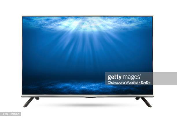 television set against white background - television set stock pictures, royalty-free photos & images