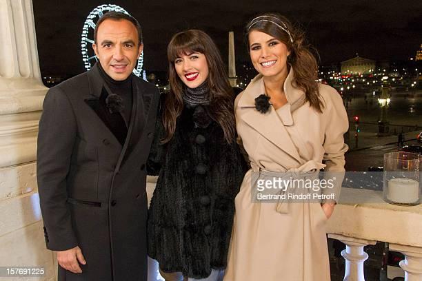 Television show host Nikos Aliagas singer Nolwenn leroy and television show host Karine Ferri attend the shooting of the year end program Toute la...