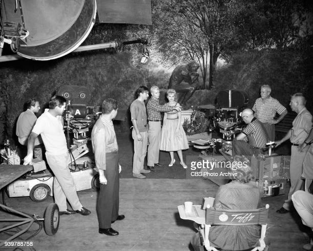CBS television sitcom The Many Loves of Dobie Gillis episode Greater Love Hath No Man Pictured is a production shot Center left is Bob Denver center...