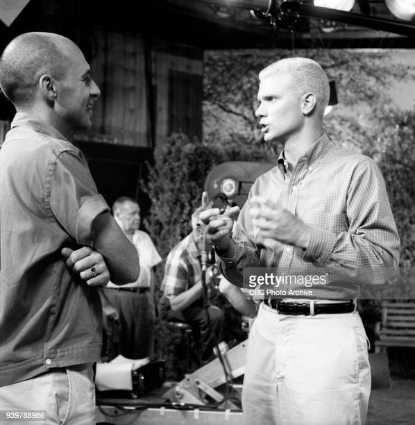 CBS television sitcom The Many Loves of Dobie Gillis episode Greater Love Hath No Man Left to right directorproducer Rod Amateau and Dwayne Hickman...
