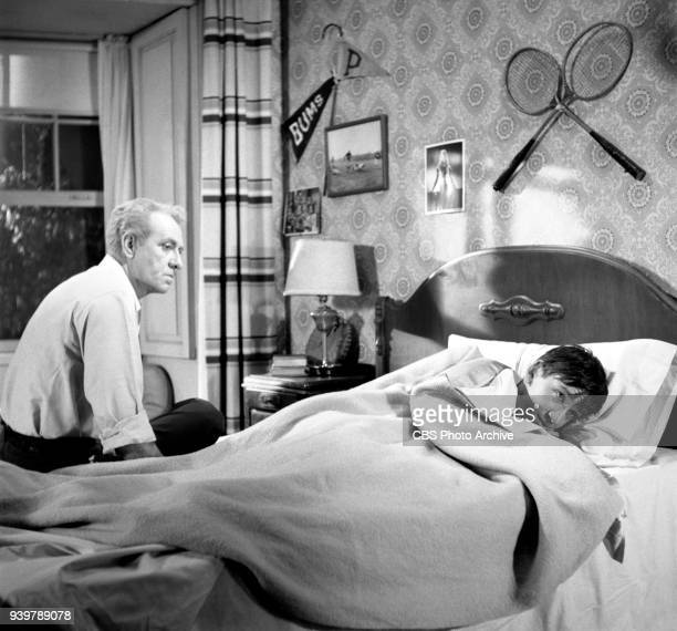 CBS television sitcom The Many Loves of Dobie Gillis episode Greater Love Hath No Man Left to right Frank Faylen and Bob Denver hiding under bed...