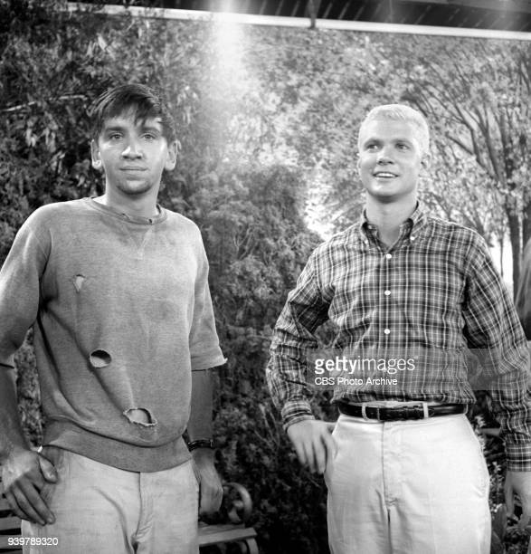 CBS television sitcom The Many Loves of Dobie Gillis episode Greater Love Hath No Man Pictured is from left is Bob Denver and Dwayne Hickman Episode...