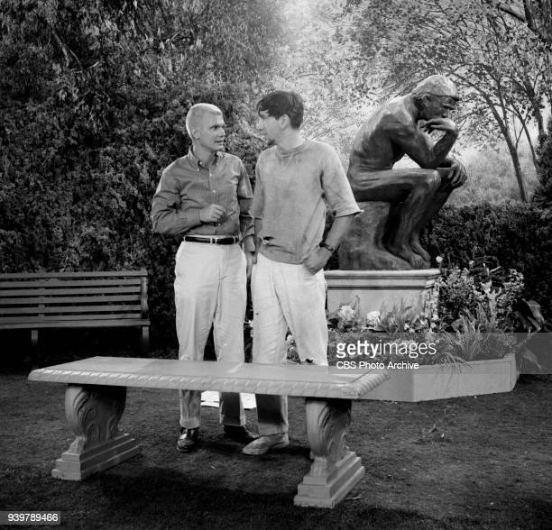CBS television sitcom The Many Loves of Dobie Gillis episode Greater Love Hath No Man Pictured from left is Dwayne Hickman and Bob Denver Episode...