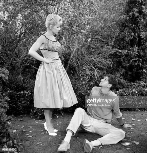 CBS television sitcom The Many Loves of Dobie Gillis episode Greater Love Hath No Man Pictured is from left is Diane Jergens and Bob Denver Episode...