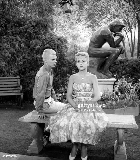 CBS television sitcom The Many Loves of Dobie Gillis episode Greater Love Hath No Man Pictured from left is Dwayne Hickman and Diane Jergens Episode...