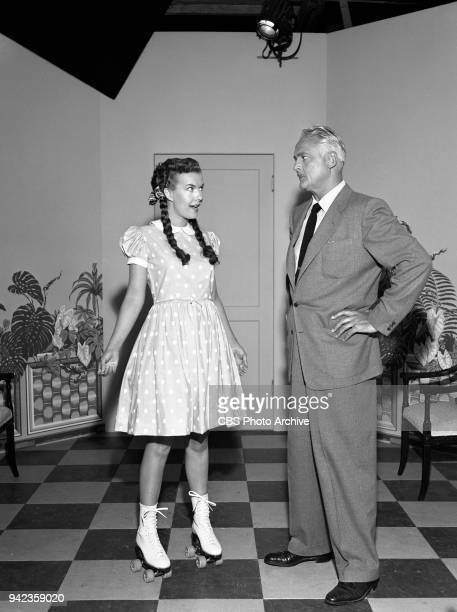 CBS television situation comedy My Little Margie Pictured from left to right Gale Storm and Charles Farrell When Margie's father Vernon insists that...