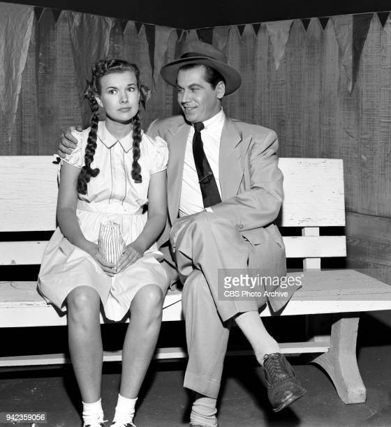 CBS television situation comedy My Little Margie Pictured from left to right Gale Storm and Cliff Ferre her blind date June 27 1952 Los Angeles CA