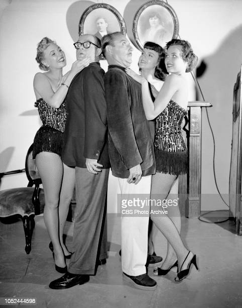 CBS television situation comedy The Box Brothers The brothers with chorus girls Left to right Joan Carey Bob Sweeney Gale Gordon Beverly Snyder and...