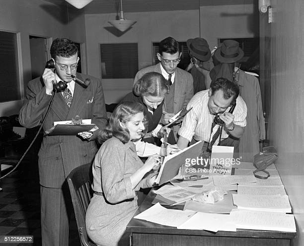 CBS television staff works out of the radio newsroom on election night November 5 to collect vote totals and send them to the Grand Central Terminal...