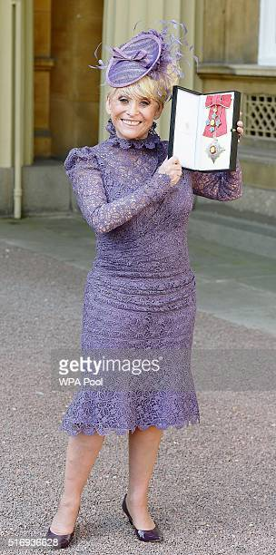 Television star Barbara Windsor after she was made a Dame Commander of the order of the British Empire by Queen Elizabeth II for her services to...
