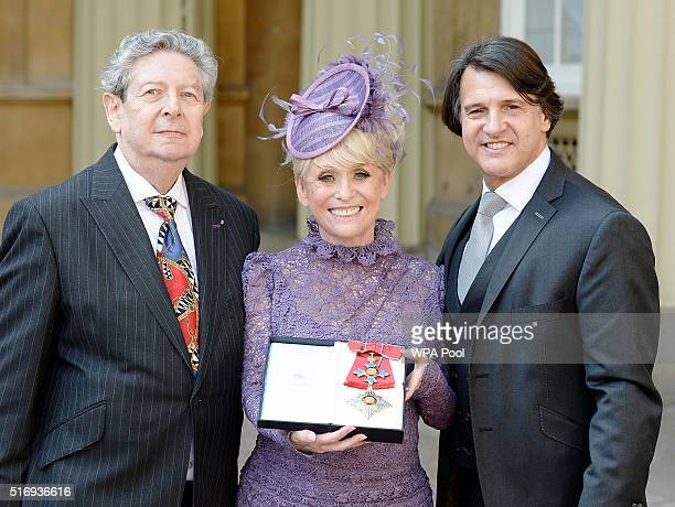 Television star Barbara Windsor with husband Scott Mitchell and agent Barry Burnett after she was made a Dame Commander of the order of the British...