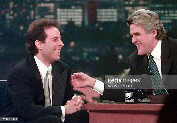 Television star Jerry Seinfeld laughs with television host Jay Leno during the taping of The Tonight Show With Jay Leno 14 May in Burbank CA Thursday...
