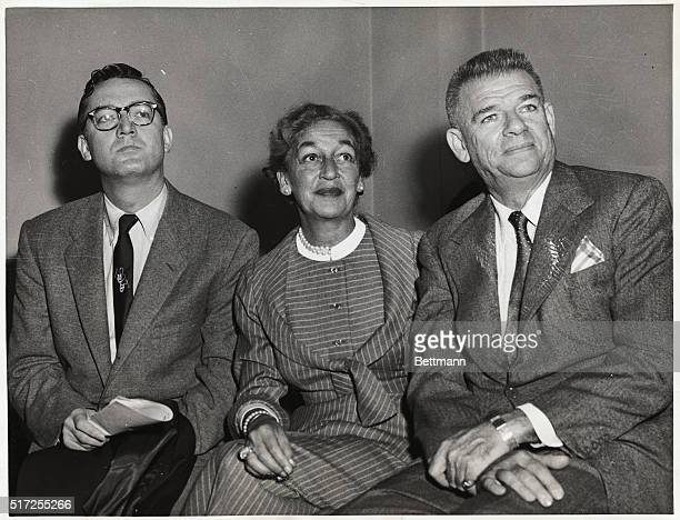Television star Steve Allen sits with songwriter Dorothy Fields and lyricist Oscar Hammerstein during a recess in the hearing held by the House...